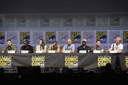 """(L-R) Shane Black, Sterling K. Brown, Olivia Munn, Thomas Jane, Keegan-Michael Key, Trevante Rhodes, Augusto Aguilera, and Jake Busey speak onstage during the 20th Century Fox's """"The Predator"""" panel during Comic-Con International 2018 at San Diego Convention Center on July 19, 2018 in San Diego, California."""