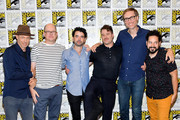 (L-R) Jon Gries, Mark Proksch, Nicholas Rutherford, Daniel Stessen, Stephen Merchant and Ahmed Bharoocha attend Adult Swim's 'Dream Corp LLC' Press Line during Comic-Con International 2018 at Hilton Bayfront on July 20, 2018 in San Diego, California.