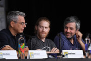 """(L-R) Rich Appel, Seth Green  Alec Sulkin speak onstage at the """"American Dad"""" and """"Family Guy""""  Panel during Comic-Con International 2018 at San Diego Convention Center on July 21, 2018 in San Diego, California."""
