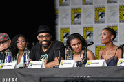 "(L-R) Marvin 'Krondon' Jones, Nafessa Williams, Cress Williams, China Anne McClain, and Christine Adams speak onstage at the ""Black Lightning"" Special Video Presentation and Q&A during Comic-Con International 2018 at San Diego Convention Center on July 21, 2018 in San Diego, California."