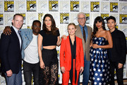 (L-R) Marc Evan Jackson, William Jackson Harper, D'Arcy Carden, Kristen Bell, Ted Danson, Jameela Jamil, and Manny Jacinto attend the 'The Good Place' Press Line during Comic-Con International 2018 at Hilton Bayfront on July 21, 2018 in San Diego, California.