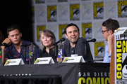 """(L-R) Bill Skarsgard, Sissy Spacek, Dustin Thomason, and Sam Shaw speak onstage at Hulu's World Premiere Screening of """"Castle Rock"""" during Comic-Con International 2018 at San Diego Convention Center on July 20, 2018 in San Diego, California."""