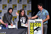 "(L-R) Kunal Nayyar, Mayim Bialik and Jerry O'Connell speak onstage at Inside ""The Big Bang Theory"" Writers' Room during Comic-Con International 2018 at San Diego Convention Center on July 20, 2018 in San Diego, California."