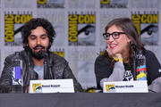 "Kunal Nayyar (L) and Mayim Bialik speak onstage at Inside ""The Big Bang Theory"" Writers' Room during Comic-Con International 2018 at San Diego Convention Center on July 20, 2018 in San Diego, California."