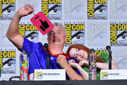 John Barrowman and Felicia Day speak onstage at The Great Debate panel hosted by SYFY WIRE during Comic-Con International 2018 at San Diego Convention Center on July 19, 2018 in San Diego, California.