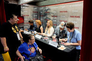 "(L-R) Actors George Griffith, Nicole LaLiberte, Amy Shiels, John Pirruccello, and executive producer Sabrina S. Sutherland attend ""Twin Peaks"" autograph signings and fan events during  Comic-Con International 2018 at San Diego Convention Center on July 20, 2018 in San Diego, California."