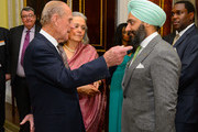 Prince Philip, Duke of Edinburgh meets Peter Virdee of B&S Property at the Commonwealth Reception at Marlborough House on March 10, 2014 in London, England.