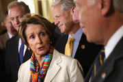 U.S. House Minority Leader Rep. Nancy Pelosi (D-CA) (2nd L) speaks as (L-R) Rep. Chris Van Hollen (D-MD), Rep. Steve Israel (D-NY), and House Minority Whip Rep. Steny Hoyer (D-MD) listen during a news conference after a House Democratic leadership meeting September 30, 2013 on Capitol Hill in Washington, DC. House Democratic leadership urged the Republicans to pass a clean continuing resolution to avoid a government shutdown.