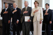 (L-R) Speaker of the House John Boehner (R-OH), Senate Majority Leader Harry Reid (D-NV), Senate Minority Leader Mitch McConnell (R-KY), House Minority Leader Rep. Nancy Pelosi (D-CA) and House Majority Leader Eric Cantor (R-VA) participate in a ceremony to celebrate the life Nobel Peace Prize laureate and former South Africa President Nelson Mandela on the occasion of his 95th birthday in the U.S. Capitol Visitor Center July 18, 2013 in Washington, DC. July 18 is Nelson Mandela Day, during which people are asked to give 67 minutes of time to charity and service in their community to honor the 67 years Mandela gave to public service. Mandela was admitted to a South African hospital June 8 where he is being treated for a recurring lung infection.