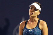 Agnieszka Radwanska of Poland reacts during her match against Petra Kvitova of Czech Republic during Day 1 of the Connecticut Open at Connecticut Tennis Center at Yale on August 20, 2018 in New Haven, Connecticut.