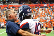 Head coach Randy Edsall of the Connecticut Huskies reacts to a missed tackle towards T.J. Gardner #42 following a special teams touchdown by the Syracuse Orange during the third quarter at the Carrier Dome on September 22, 2018 in Syracuse, New York. Syracuse defeated Connecticut 51-21.