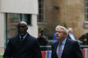 Boris Johnson MP (R) arrives for the Conservative Leadership televised debate on June 18, 2019 in London, England. Emily Maitlis hosts the second of the televised Conservative Leadership debates for the BBC. Boris Johnson, Michael Gove, Jeremy Hunt, Rory Stewart and Sajid Javid made it through the second ballot while Dominic Raab did not. The third ballot will be held tomorrow, (Wednesday).