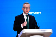 Secretary of State for Environment, Food and Rural Affairs Michael Gove speaks during day two of the annual Conservative Party Conference on October 1, 2018 in Birmingham, England. This year it is being held against a backdrop of party division on Brexit.  The Prime Minister is pushing ahead with her unpopular Chequers Deal which promises a softer Brexit creating a free trade area with the EU enabling frictionless access for goods and avoids the need for a hard border between Northern Ireland in Ireland. This plan has divided the Conservative party.