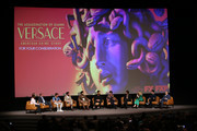 "(L-R) Brad Simpson, Tom Rob Smith, Darren Criss, Edgar Ramirez, Ricky Martin, Maureen Orth, Cody Fern, Judith Light, Max Greenfield, and Jon Jon Briones speak onstage during the For Your Consideration Event for FX's ""The Assassination of Gianni Versace: American Crime Story"" at DGA Theater on March 19, 2018 in Los Angeles, California."