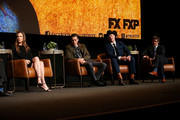 "(L-R) Hilary Swank, Harris Dickinson, Brendan Fraser, and Michael Esper speak onstage during the For Your Consideration Event for FX's ""Trust"" at Saban Media Center on May 11, 2018 in North Hollywood, California."
