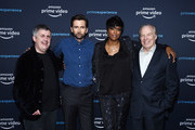 "(L-R) Douglas Mackinnon, David Tennant, Aisha Tyler and Michael McKean arrive at the For Your Consideration Screening of Amazon Studios' ""Good Omens"" at The Hollywood Athletic Club on April 17, 2019 in Los Angeles, California."