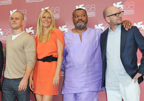 "(L-R) Actors Matt Damon, Gwyneth Paltrow, Laurence Fishburne and director Steven Soderbergh pose at the ""Contagion"" photocall during the 68th Venice Film Festival at the Palazzo del Cinema on September 3, 2011 in Venice, Italy."