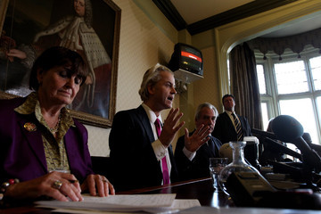Baroness Cox Controversial Right Wing Dutch MP Geert Wilders Holds A Press Conference