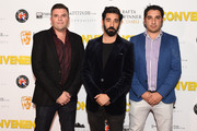 "Actor Ray Panthaki (middle) attends the premiere of ""Convenience"" at Curzon Soho on September 21, 2015 in London, England."