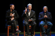 """(L-R) Ringo Starr, David Lynch, and Henry Diltz speak onstage during the In Conversation Panel for 'Another Day In The Life"""" with Ringo Starr, David Lynch and Henry Diltz at Saban Theatre on October 29, 2019 in Beverly Hills, California."""