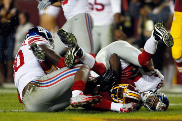 Corey Webster Josh Morgan New York Giants v Washington Redskins