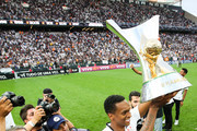 Jo of Corinthians celebrates with the trophy after Corinthians win the Brasileirao 2017 after the match against  Atletico MG for the Brasileirao Series A 2017 at Arena Corinthians Stadium on November 26, 2017 in Sao Paulo, Brazil.