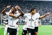 Jo #07 of Corinthians celebrates with his team mates after scoring their first goal during the match against Fluminense for the Brasileirao Series A 2017 at Arena Corinthians Stadium on November 15, 2017 in Sao Paulo, Brazil.