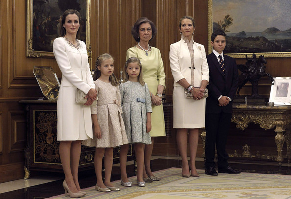 (L-R) Queen Letizia of Spain, Princess Leonor, Princess of Asturias, Princess Sofia, Queen Sofia, Princess Elena and Felipe Juan Froilan de Marichalar attend a ceremony in the Hearing Room of Zarzuela Palace prior to the King's official coronation ceremony on June 19, 2014 in Madrid, Spain. The coronation of King Felipe VI is held in Madrid. His father, the former King Juan Carlos of Spain abdicated on June 2nd after a 39 year reign. The new King is joined by his wife Queen Letizia of Spain.
