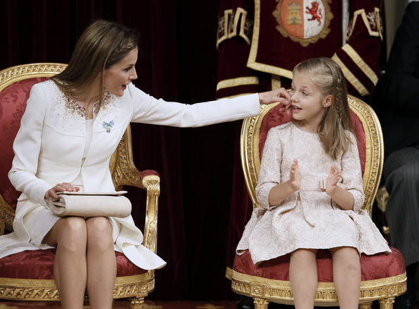Queen Letizia of Spain with daughter Princess Sofia at the Congress of Deputies during King Felipe VI of Spain's first speech to make his proclamation as King of Spain to the Spanish Parliament on June 19, 2014 in Madrid, Spain. The coronation of King Felipe VI is held in Madrid. His father, the former King Juan Carlos of Spain abdicated on June 2nd after a 39 year reign. The new King is joined by his wife Queen Letizia of Spain.