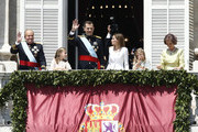 (L-R) King Juan carlos,  Princess Leonor, Princess of Asturias, King Felipe VI of Spain, Queen Letizia of Spain, Princess Sofia and Queen Sofia appear at the balcony of the Royal Palace during the King's official coronation ceremony on June 19, 2014 in Madrid, Spain. The coronation of King Felipe VI is held in Madrid. His father, the former King Juan Carlos of Spain abdicated on June 2nd after a 39 year reign. The new King is joined by his wife Queen Letizia of Spain.
