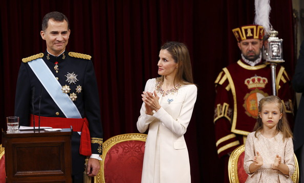 (LtoR) King Felipe VI of Spain, Queen Letizia of Spain and daughter Princess Sofia at the Congress of Deputies during his first speech to make his proclamation as King of Spain to the Spanish Parliament on June 19, 2014 in Madrid, Spain. The coronation of King Felipe VI is held in Madrid. His father, the former King Juan Carlos of Spain abdicated on June 2nd after a 39 year reign. The new King is joined by his wife Queen Letizia of Spain.