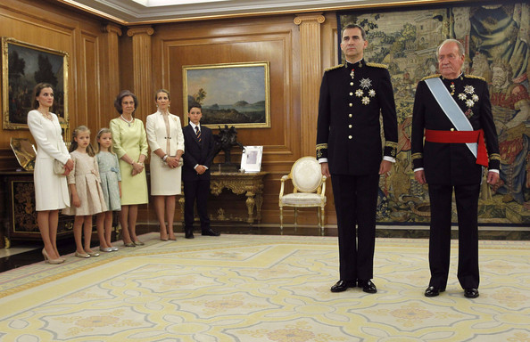 King Felipe VI of Spain and King Juan Carlos attend a ceremony in the Hearing Room of Zarzuela Palace with (L-R) Queen Letizia of Spain, Princess Leonor, Princess of Asturias, Princess Sofia, Queen Sofia, Princess Elena and Felipe Juan Froilan de Marichalar, prior to the King's official coronation ceremony on June 19, 2014 in Madrid, Spain. The coronation of King Felipe VI is held in Madrid. His father, the former King Juan Carlos of Spain abdicated on June 2nd after a 39 year reign. The new King is joined by his wife Queen Letizia of Spain.