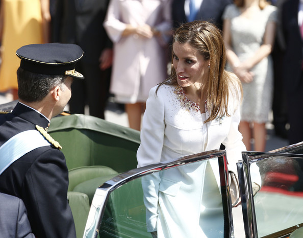 King Felipe VI of Spain and Queen Letizia of Spain as they leave the Congress of Deputies during the King's official coronation ceremony on June 19, 2014 in Madrid, Spain. The coronation of King Felipe VI is held in Madrid. His father, the former King Juan Carlos of Spain abdicated on June 2nd after a 39 year reign. The new King is joined by his wife Queen Letizia of Spain.