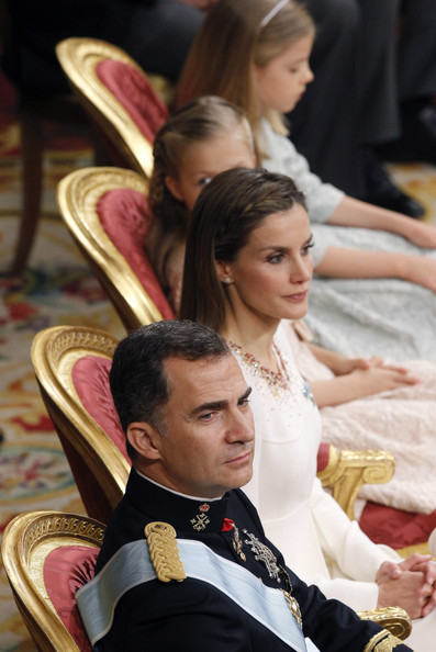 King Felipe VI of Spain, Queen Letizia of Spain with daughters Princess Sofia and Princess Leonor,  Princess of Asturias  attend the Congress of Deputies for the proclamation as King of Spain to the Spanish Parliament on June 19, 2014 in Madrid, Spain. The coronation of King Felipe VI is held in Madrid. His father, the former King Juan Carlos of Spain abdicated on June 2nd after a 39 year reign. The new King is joined by his wife Queen Letizia of Spain.