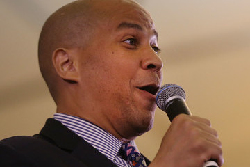Cory Booker Democratic Presidential Candidate Hillary Clinton Holds Campaign Event in New Jersey With Jon BonJovi