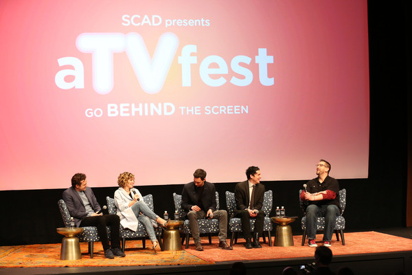 SCAD Presents aTVfest 2016 - 'Gotham' [text,event,stage,performance,musical instrument,company,talent show,drum,brand,presentation,taylor,damian holbrook,actors,cory michael smith,robin,camren bicondova,nathan darrow,l-r,gotham,scad presents atvfest]