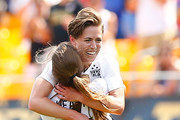 Meghan Klingenberg #22 of the United States celebrates her goal with teammate Tobin Heath #17 in the second half with the Terrible Towel against Costa Rica during the match at Heinz Field on August 16, 2015 in Pittsburgh, Pennsylvania.