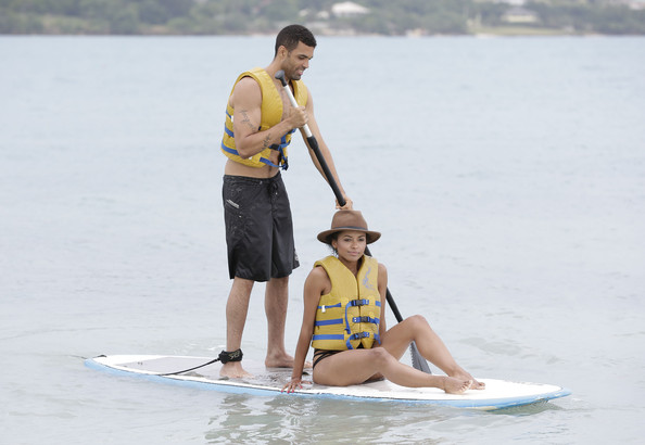 Kat Graham And Cottrell Guidry Visit Sandals Whitehouse European Village & Spa [surface water sports,water sport,recreation,stand up paddle surfing,sports,surfing equipment,fun,vacation,paddle,sports equipment,kat graham,cottrell guidry,coverage,cottrell guidry visit sandals whitehouse european village spa,location,jamaica]