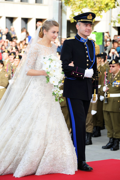 The Wedding Of Prince Guillaume Of Luxembourg & Stephanie de Lannoy - Official Ceremony [stephanie,guillaume of luxembourg stephanie de lannoy - official ceremony,jehan de lannoy,prince,belgian countess,guillaume of luxembourg,gown,dress,wedding dress,ceremony,yellow,event,fashion,bridal clothing,tradition,marriage,luxembourg,wedding,wedding ceremony,ceremony]