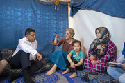 Sophie, Countess of Wessex (2nd L) and Tariq Ahmad, Baron Ahmad of Wimbledon (L) talk to Asmaa (R) aged 25, and her daughter Sidra, aged 6, on a visit to an informal tented settlement, during the first official Royal visit to the country, on June 12, 2019 in Bekaa Valley, Lebanon. The Countess of Wessex announced her commitment to supporting the UK's efforts in the Women, Peace and Security agenda (WPS), and the Preventing Sexual Violence in Conflict Initiative (PSVI) earlier this year.