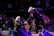 Ricky Skaggs (L) thanks Chris Stapleton for his tribute during the 2018 Country Music Hall of Fame and Museum Medallion Ceremony honoring inductees Johnny Gimble, Ricky Skaggs and Dottie West at Country Music Hall of Fame and Museum on October 21, 2018 in Nashville, Tennessee.