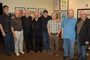"""David Briggs, Bergen White, Jimmy Capps, Bill Walker, Eddie Bayers, Charlie McCoy (HoF), Hargus """"Pig"""" Robbins (HoF), and Steve Gibson backstage during Nashville Cats: A Salute to Bill Walker at The Country Music Hall of Fame and Museum on May 30, 2015 in Nashville, Tennessee."""