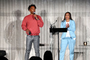 Maverick Carter (L) and Jemele Hill (R) speak onstage at Courvoisier Cognac And UNINTERRUPTED Partner On First-Of-Its-Kind, Live Storytelling Event And Content Series at Goya Studios on July 09, 2019 in Los Angeles, California.