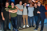 "Jim Florentine, Jeff Ross, Kevin Nealon, Jimmy Kimmel, Kent Alterman, Brent Montgomery and Adam Carolla attend the ""Crank Yankers"" 2019 Premiere Party at Two Bit Circus on September 24, 2019 in Los Angeles, California."