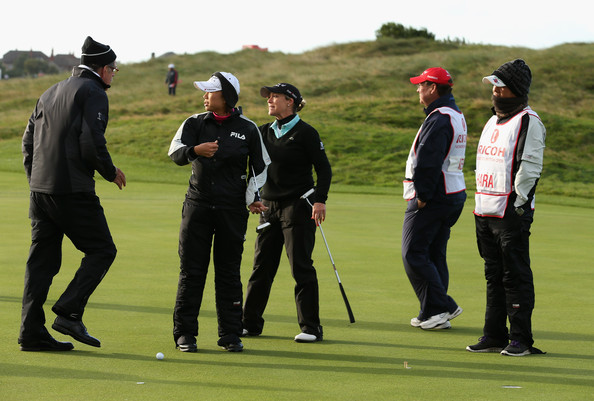 Ricoh Women's British Open - Day Two [golf,sport venue,golfer,professional golfer,recreation,golf club,golf course,sports equipment,sports,foursome golf,cristie kerr,erina hara of japan,jim haley,balls,indcate,green,winds,centre,usa,ricoh womens british open]