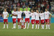 Denmark team line up ahead of the penalty shoot out during the 2018 FIFA World Cup Russia Round of 16 match between Croatia and Denmark at Nizhny Novgorod Stadium on July 1, 2018 in Nizhny Novgorod, Russia.