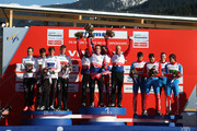 (FRANCE OUT) Tord Asle Gjerdalen, Eldar Roenning, Sjur Roethe and Petter Northug, Jr. of Norway take the gold medal, Daniel Richardsson, Johan Olsson, Marcus Hellner and Calle Halfvarsson of Sweden take the silver medal, and Evgeniy Belov, Maxim Vylegzhanin, Alexander Legkov and Sergey Ustiugov of Russia take the bronze medal during the FIS Nordic World Ski Championships Cross Country Men's Relay on March 01, 2013 in Val di Fiemme, Italy.