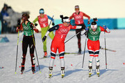 Marit Bjoergen of Norway (1-1) and Maiken Caspersen Falla of Norway (1-2) handover during the Cross Country Ladies' Team Sprint Free semi final on day 12 of the PyeongChang 2018 Winter Olympic Games at Alpensia Cross-Country Centre on February 21, 2018 in Pyeongchang-gun, South Korea.