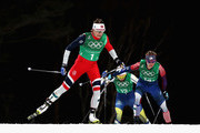 Maiken Caspersen Falla of Norway leads the pack during the Cross Country Ladies' Team Sprint Free Final on day 12 of the PyeongChang 2018 Winter Olympic Games at Alpensia Cross-Country Centre on February 21, 2018 in Pyeongchang-gun, South Korea.