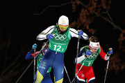 Stina Nilsson of Sweden (12-2) and Maiken Caspersen Falla of Norway (1-2) compete during the Cross Country Ladies' Team Sprint Free Final on day 12 of the PyeongChang 2018 Winter Olympic Games at Alpensia Cross-Country Centre on February 21, 2018 in Pyeongchang-gun, South Korea.